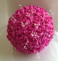 ARTIFICIAL SUGAR PINK FOAM ROSE BRIDE WEDDING BOUQUET BRIGHT PINK FLOWERS POSIE